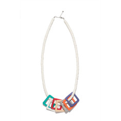City scape wood floating squares necklace