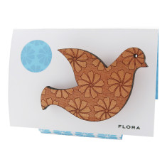 Flora engraved wooden dove brooch