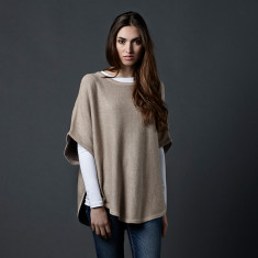 Reversible cotton cashmere poncho in biscuit & fur