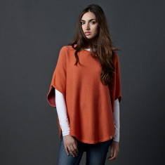 Reversible cotton/cashmere poncho in orange & pink