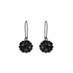 Black floral laser-cut earrings