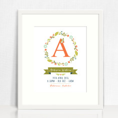 Wreath personalised birth details print (various designs)