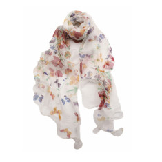 Florals and white light silk scarf