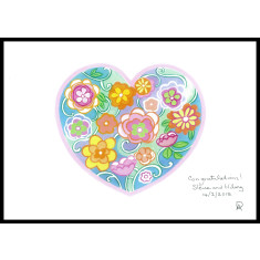 Personalised flower heart art print