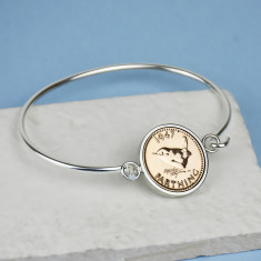 Farthing Year Coin Bangle Bracelet 1920 To 1956
