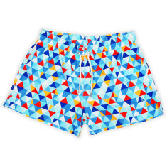 Red triangle geo print men's swim shorts