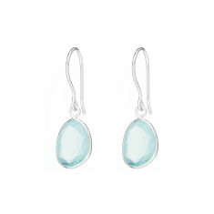 Pebble single stone drops with aqua chalcedony in silver