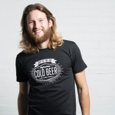 Soup of the day, cold beer blackboard menu t-shirt