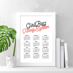 Girl boss 2018 wall calendar (various sizes)