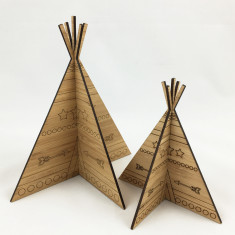 Set of 2 3D bamboo teepees