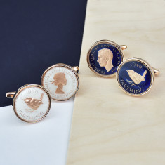 Farthing Rose Gold Enamel Coin Cufflinks
