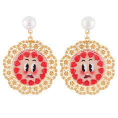 Scared Strawberry Cream Cake On An Openwork Plate Clip-On Earrings