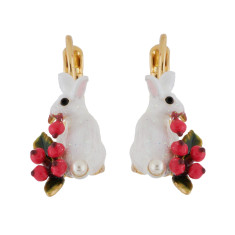 glittered white rabbit and red berries earrings