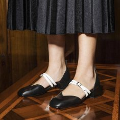 Bonnie Mary Jane Flats - Black with White Double Straps
