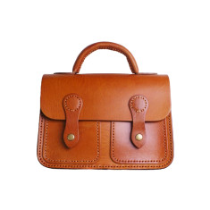 Leather 2-pocket buckled bag with handle in tan