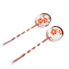 Rose gold Japanese chiyogami bobby pins in blue blossom