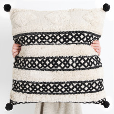 Matisse Tufted Cushion - Black Pom Pom