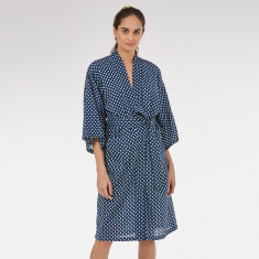 Wrap Over Kimono Robe in Navy Startree print