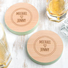 Personalised Couple's Coloured Edge Coasters