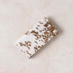Foldover wallet in tan cowhide