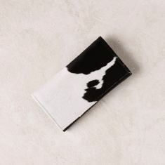Foldover wallet in black and white cowhide