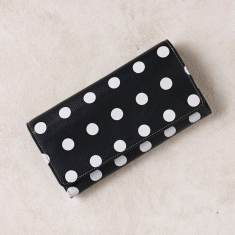 Foldover x-large wallet in polka dots navy