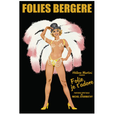 Folies Bergere pink vintage poster
