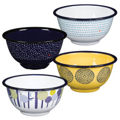Folklore enamel bowls (set of 4)
