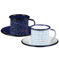 Folklore enamel espresso cup and saucer (set of 2)
