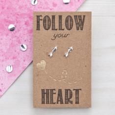 Follow your heart sterling silver arrow stud earrings