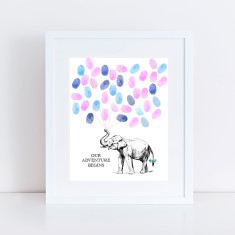 baby elephant fingerprint guest book and ink