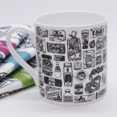 Illustrated food cupboard mug