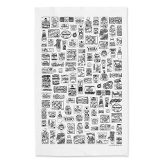 Illustrated food cupboard tea towel