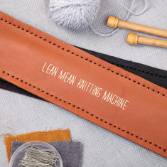 Tan personalised knitting needle holder