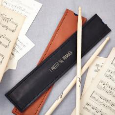 Personalised black leather drum stick holder