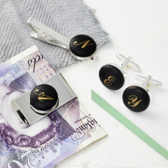 Silver Monogrammed tie clip/money clip and cufflinks set