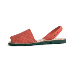 Fornells braided leather sandals in coral red