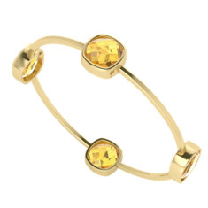 Four stone cushion citrine gemstone gold bangle