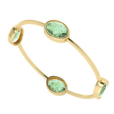 Four stone oval green amethyst gemstone gold bangle