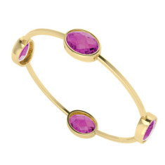 Four stone oval pink sapphire gemstone gold bangle