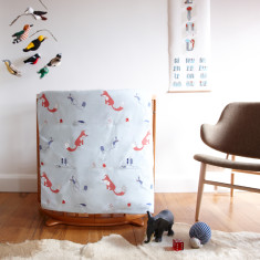 The fox cot play blanket in blue