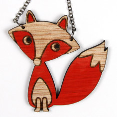 Mr Fox handpainted necklace