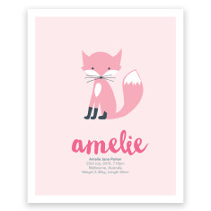 Foxey pink birth print