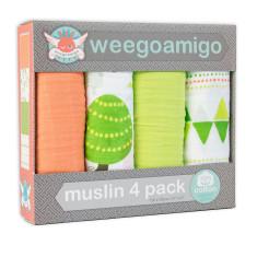 Weegoamigo Foxie's run baby muslin swaddle (4 pack)