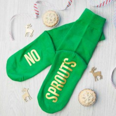 Personalised Sprout Green & Canary Yellow Christmas Day Socks