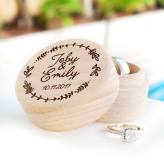 Personalised wooden wedding ring box with names