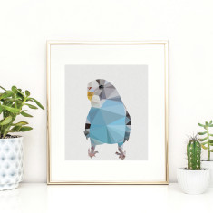 Geometric blue budgie art print