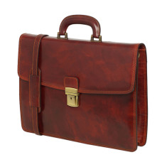Genuine leather modern briefcase in brown