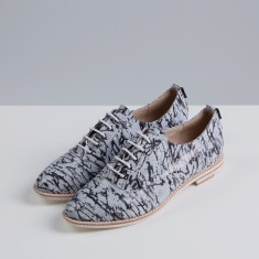 Georgie black ink printed leather oxford shoes