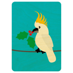 Christmas cockatoo wooden card